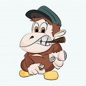 Cartoon character of a clever monkey wearing blue cap and holding cigar in his mouth.