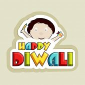 stock photo of laxmi  - Illustration of a cute boy face holding crackers with colourful HAPPY DIWALI text - JPG