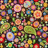 Easter floral wallpaper with colorful eggs