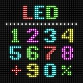 LED display numbers. Vector.