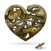 Broken rusty clockwork heart on the white background with a pinion. Unrequited love symbol