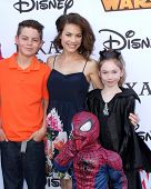 LOS ANGELES - OCT 1:  Rebecca Herbst, Ella Bailey Saucedo, Ethan Riley Saucedo, Emerson Truett Saucedo at the VIP Disney Halloween Event at Disney Pop Up Store on October 1, 2014 in Glendale, CA