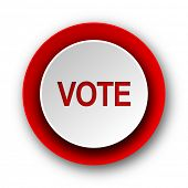 vote red modern web icon on white background