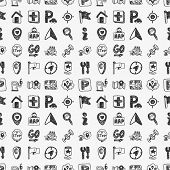 Seamless Doodle Map Gps Location Icons Pattern