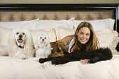 Hispanic woman laying on bed with dogs