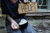 picture of beggar  - Homeless beggar money  - JPG