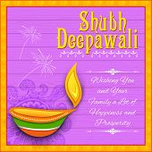 illustration of Shubh Deepawali (Happy Diwali) background with diya and firecracker