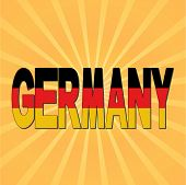 Germany flag text with sunburst vector illustration