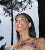Low angle view of Hispanic woman