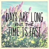 Inspirational Typographic Quote - Days are long but the time is fast