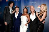 NEW YORK-SEP 17:(L-R)Howard Stern, Mat Franco, Mel B, Howie Mandel & Heidi Klum at America's Got Talent: The Finale Season 9 post-show at Radio City Music Hall on September 17, 2014 in New York City.