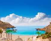 Cartagena Cala Cortina beach in Mediterranean Murcia at Spain