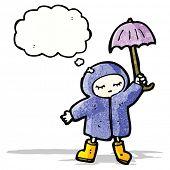 cartoon person in raincoat and umbrella