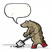 cartoon bear digging