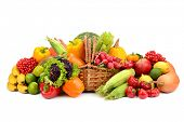 stock photo of indian apple  - composition of fruits and vegetables in basket on white - JPG