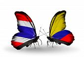 Two Butterflies With Flags On Wings As Symbol Of Relations Thailand And Columbia