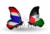 Two Butterflies With Flags On Wings As Symbol Of Relations Thailand And Palestine