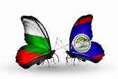 Two Butterflies With Flags On Wings As Symbol Of Relations Bulgaria And Belize