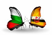 Two Butterflies With Flags On Wings As Symbol Of Relations Bulgaria And Brunei