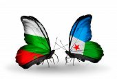 Two Butterflies With Flags On Wings As Symbol Of Relations Bulgaria And Djibouti