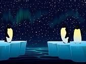 Watching northern lights.