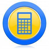 calculator blue yellow icon