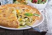 picture of curry chicken  - Chicken curry savory pie with carrot and green peas