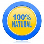 natural blue yellow icon 100 percent natural sign