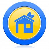 house blue yellow icon ecological home symbol