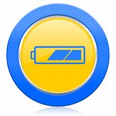 battery blue yellow icon charging symbol power sign