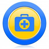 first aid blue yellow icon hospital blue yellow icon