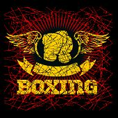 Boxing labels on grunge background