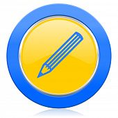 pencil blue yellow icon