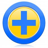 plus blue yellow icon cross sign