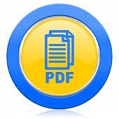 pdf blue yellow icon pdf file sign