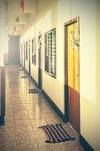 picture of motel  - Retro filtered picture of an empty desolated motel - JPG