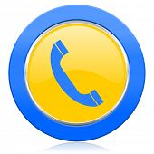 phone blue yellow icon telephone sign