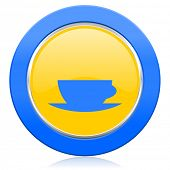 espresso blue yellow icon caffe cup sign