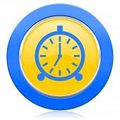 alarm blue yellow icon alarm clock sign