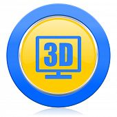 3d display blue yellow icon
