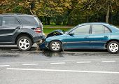 stock photo of slippery-roads  - car crash accident on street - JPG