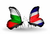 Two Butterflies With Flags On Wings As Symbol Of Relations Bulgaria And Costa Rica