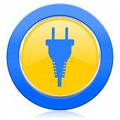 plug blue yellow icon electric plug sign