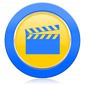 video blue yellow icon cinema sign