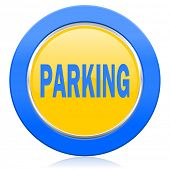 parking blue yellow icon