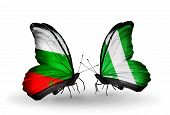 stock photo of nigeria  - Two butterflies with flags on wings as symbol of relations Bulgaria and Nigeria - JPG