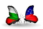 stock photo of samoa  - Two butterflies with flags on wings as symbol of relations Bulgaria and Samoa - JPG