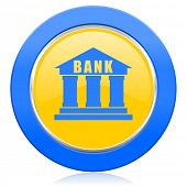 bank blue yellow icon