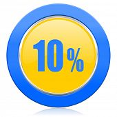 10 percent blue yellow icon sale sign
