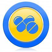 medicine blue yellow icon drugs symbol pills sign